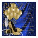 womans royal blue and gold birthday party luxe invitations