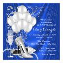 womans royal blue and silver birthday party invitations