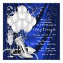 womans royal blue and silver birthday party luxe invitations