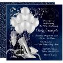 womans royal blue silver elegant birthday party invitations
