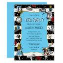 wonderland tea party whimsical blue invitations