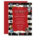 wonderland tea party whimsical red invitation