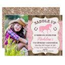 wood paisley glitter horse birthday invitation