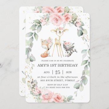 woodland animals pink floral greenery birthday invitation
