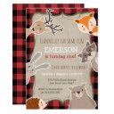 woodland birthday invitations lumberjack fox bear