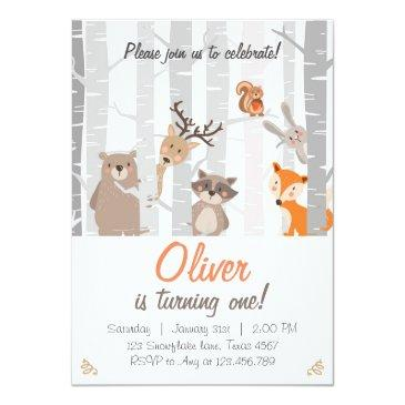 woodland first birthday invitations forest animals