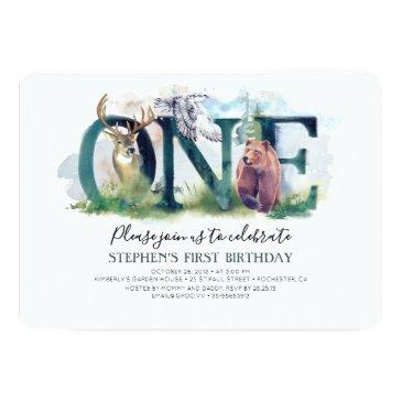 woodland forest animals 1st birthday invitation