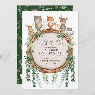 woodland forest animals greenery wild one birthday invitation
