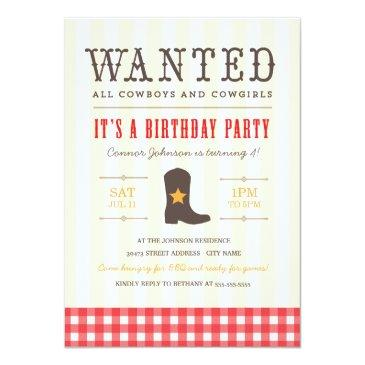 yeehaw! cowboy birthday party invitations