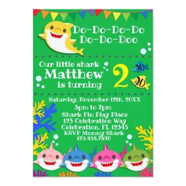 yellow baby shark green birthday invitation