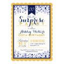 yellow gold, white, navy blue surprise party invitation