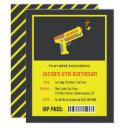 yellow laser tag gun birthday party invitations