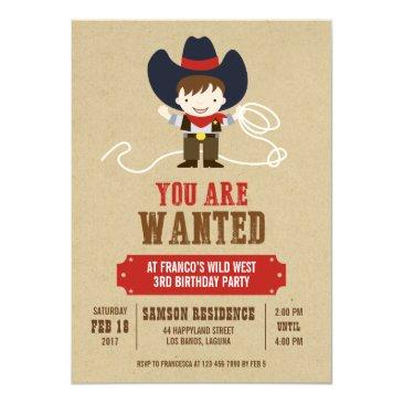 you are wanted cowboy western birthday invitations