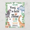 young wild and three safari animal 3rd birthday invitation postinvitations