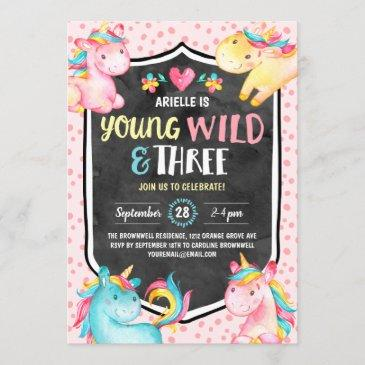 young wild and three unicorn birthday party invitation