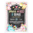 young wild and three unicorn birthday party invitation