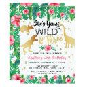 young wild & three dinosaur girls 3rd birthday invitation
