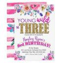 young wild & three girls boho floral 3rd birthday invitation
