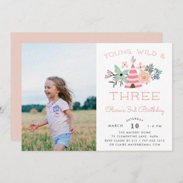 young, wild & three   photo birthday party invite