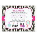 zebra print spa birthday party invitations