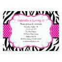 zebra stripe & hot pink ribbon kids invitations