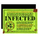 zombie biohazard halloween birthday party invitation