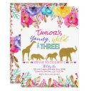 zoo young wild & three girls safari 3rd birthday invitation